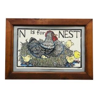 Vintage Woodblock Art in Frame For Sale