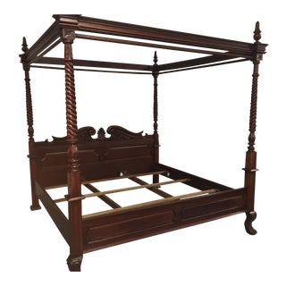 Carved Mahogany King-Sized Bed For Sale