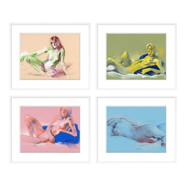 Figure Horitzontal, Set of 4 by David Orrin Smith in White Frame, XS Art Print For Sale