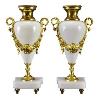 Antique Bronze & White Marble Louis XVI Cassolette Urns- a Pair For Sale