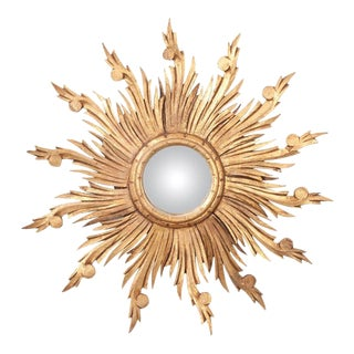 19th Century French Gold Gilt Sunburst Convex Mirror