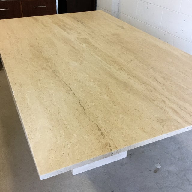 1980s Travertine Marble Dining Table or Desk For Sale - Image 5 of 13