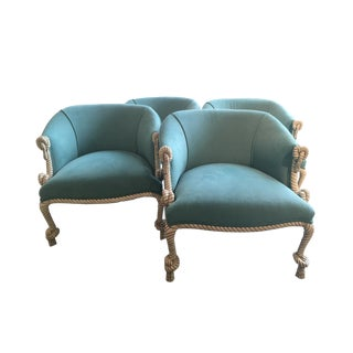 Pair of Fournier Style Rope and Tassel Barrel Chairs - Two Pairs Available For Sale
