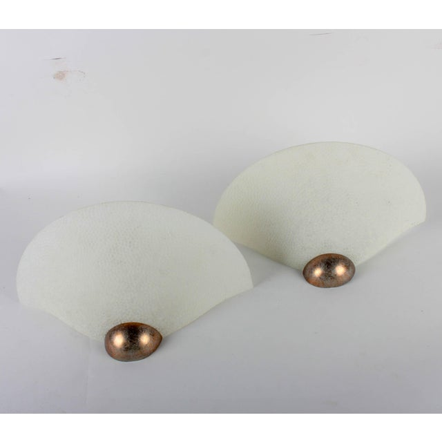 A Pair of Textured Glass Wall Sconces - Image 2 of 6