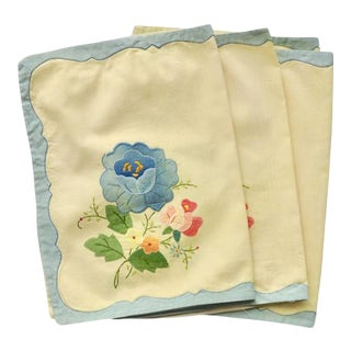1950s Hand-Dyed Vintage Linen Napkins - Set of 4 For Sale