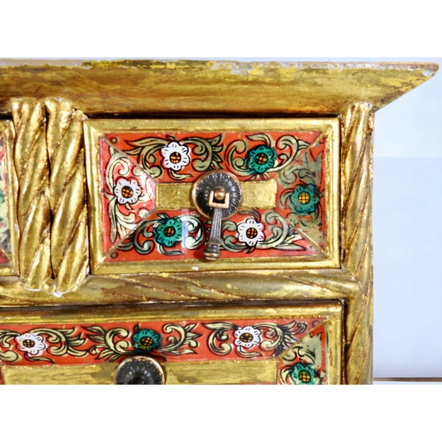 Spanish Early 20th Century Gold Gilt Chest With Reverse Painted Glass on Stand For Sale - Image 3 of 11
