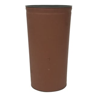 Vintage Lawson Mid Century Modern Large Industrial Leather Covered Metal Trash Can