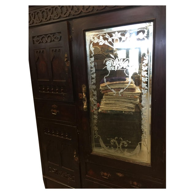 Asian Antique Indian Hand Carved Rosewood Armoires With Etched Mirror For Sale - Image 3 of 9