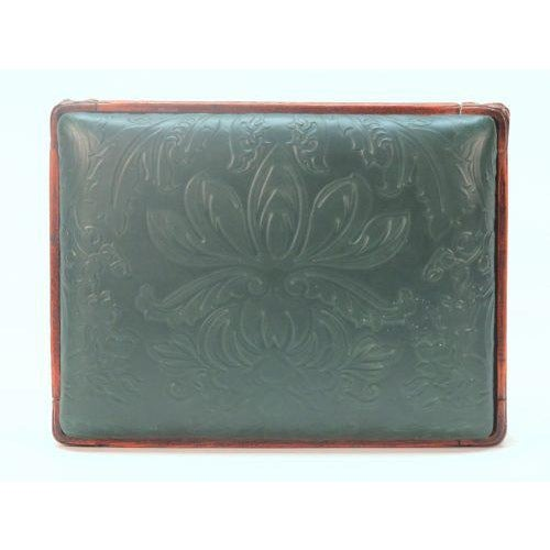 French Embossed Green Leather Foot Stool For Sale - Image 4 of 5