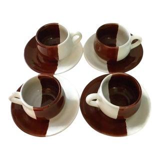1970s Vintage Artisan Chocolate Brown & White Tea Set- 8 Pieces For Sale