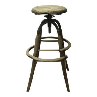 Antique Primitive Oak Swivel Stool