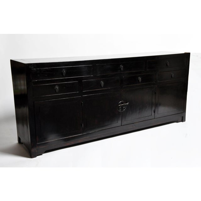 Asian Style Seven Drawer Chinese Sideboard With Bi-Folding Doors For Sale - Image 4 of 13
