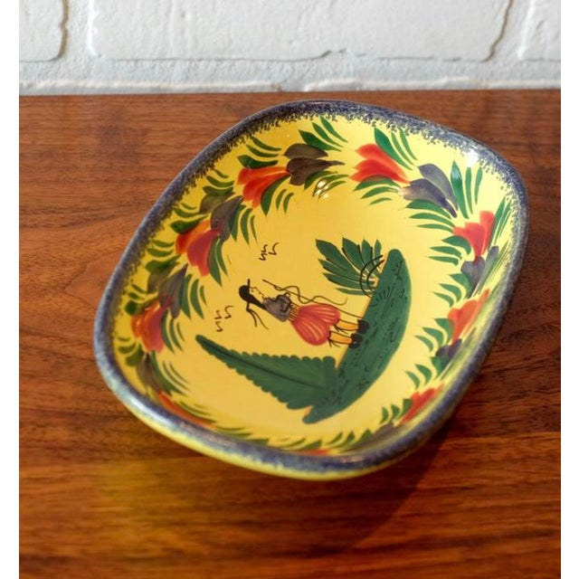 Figurative Antique French Quimper Hand Painted Ceramic Tray For Sale - Image 3 of 7