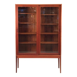 Vintage Teak & Glass Tall Cabinet