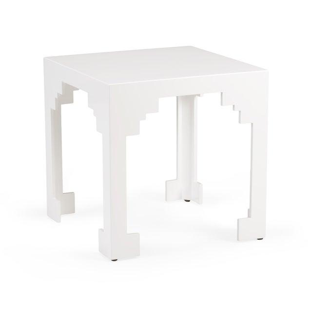 White finish. Wood. Cut corner table (lg) - white