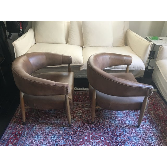 Restoration Hardware Restoration Hardware Leather Chairs - A Pair For Sale - Image 4 of 7
