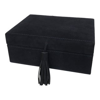 Navy Blue Suede Leather Box With Tassel For Sale