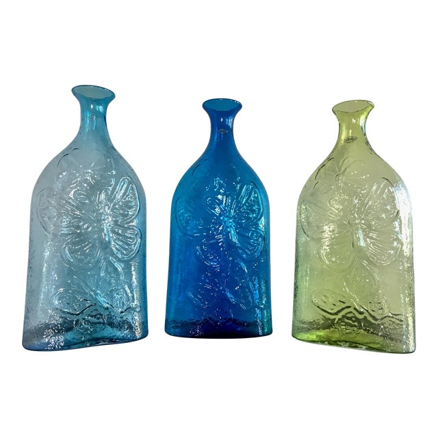 Contemporary Architectural Blenko Butterfly Decanters - Set of 3 For Sale