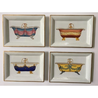 Andrea by Sadek Porcelain Trays With Antique Bathtubs - Set of 4 Preview