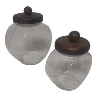 Vintage Wood & Glass Cookie Canisters - A Pair For Sale