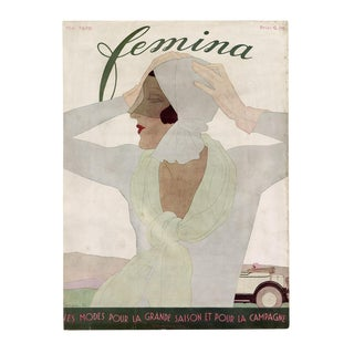"""Vintage """"Femina, May 1929"""" Original French Magazine Cover For Sale"""