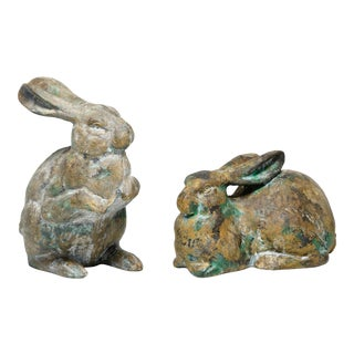 """Fine Japanese Long Eared Antique Garden """"Usagi"""" Rabbits - a Pair For Sale"""