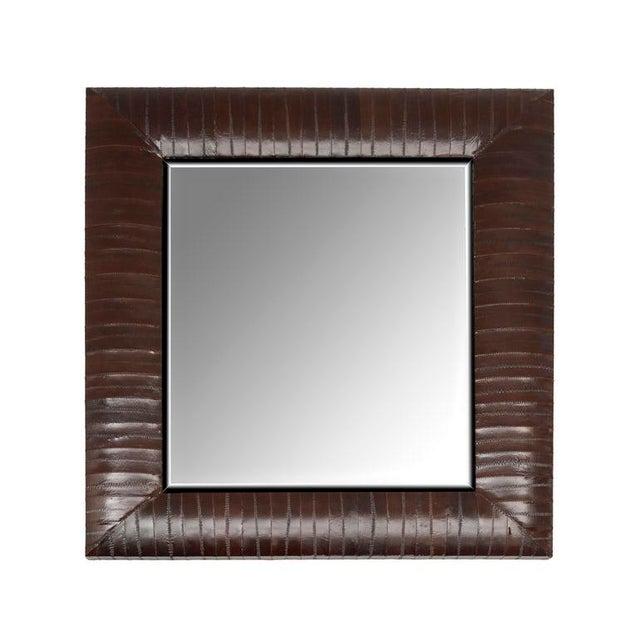 KLASP Home Contemporary Genuine Brown Eel Skin Framed Mirror For Sale - Image 4 of 4