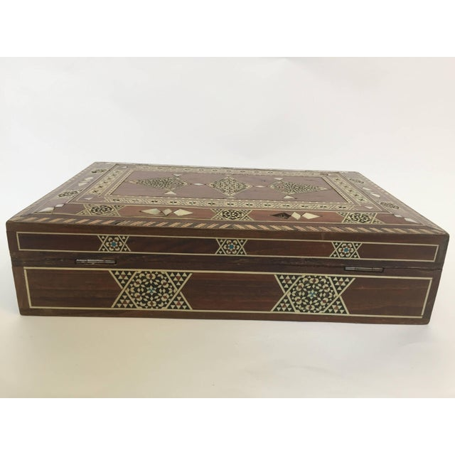 Islamic Large Islamic Syrian Wooden Micro Mosaic Box For Sale - Image 3 of 13