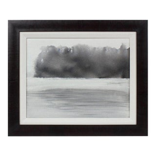 """Summer Fog"" Abstracted Monochromatic New Hampshire Landscape in Ink, 2017 For Sale"