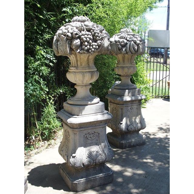 Pair of Italian Limestone Urns With Fruit and Floral Bouquets on Pedestals For Sale - Image 11 of 13