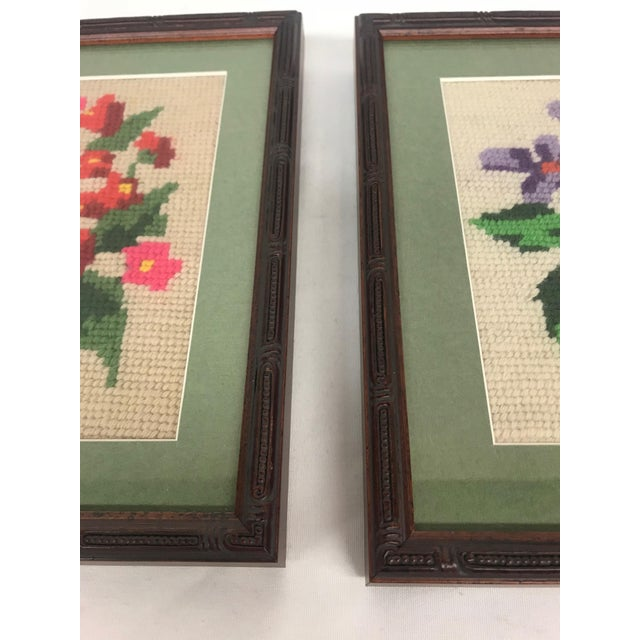 Framed Pink/Purple Floral Needlepoints - A Pair For Sale - Image 4 of 5