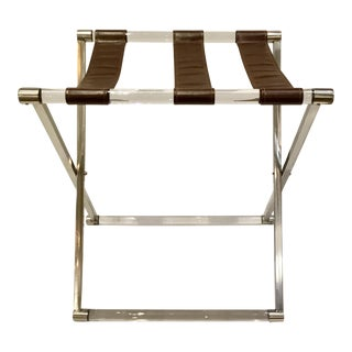 Modern Leather and Lucite Luggage Rack For Sale