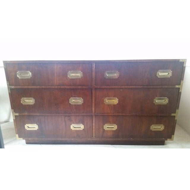Wood & Brass Campaign Dresser - Image 2 of 7