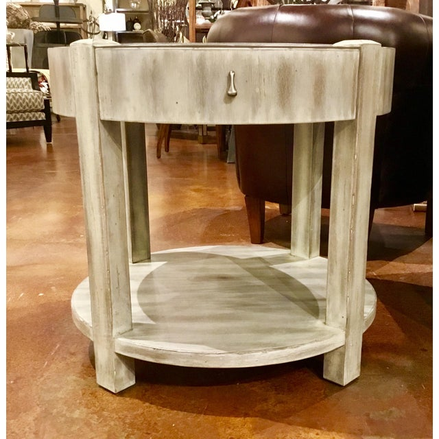Shabby Chic Drexel Heritage Modern Off-White Antique Wood & Stone Top Round Jule End Table For Sale - Image 3 of 7