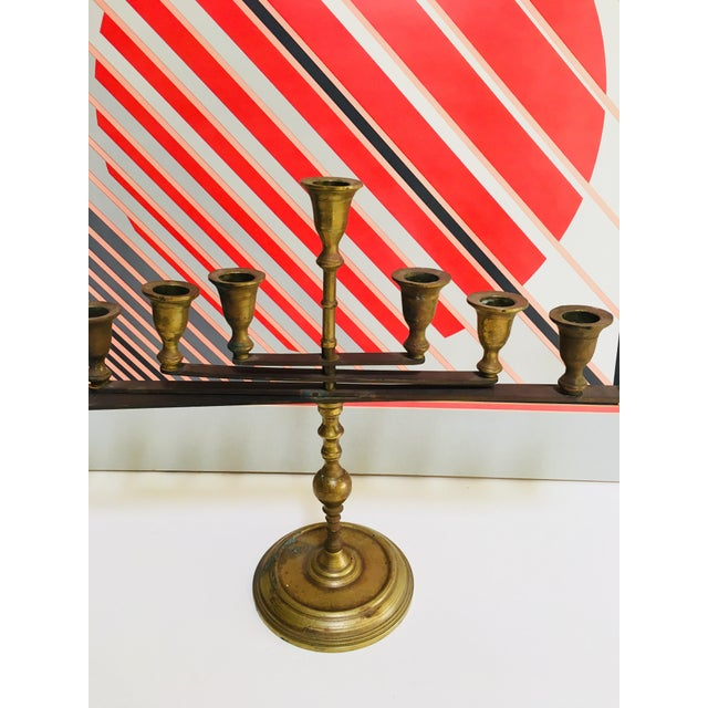 Contemporary Mid-Century Vintage Articulating Brass Menorah For Sale - Image 3 of 10