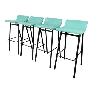 Set of 4 Barstools by Vista of California With Mint Green Upholstery For Sale