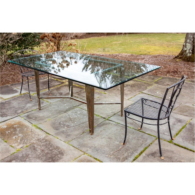French Vintage Glass Top and Steel Rectangular Dining Table For Sale - Image 3 of 12