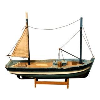 Vintage Medium Wooden Sailboat Ship Model on Display Stand For Sale