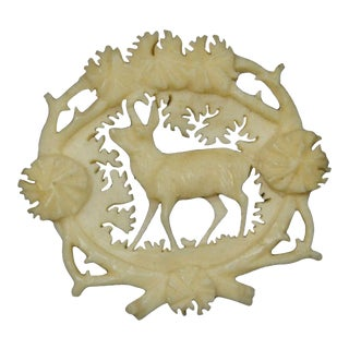 Antique Carved Horn Brooch With Chamois, Ca. 1900 For Sale