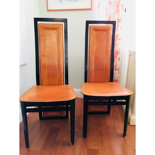 Art Deco Inspired Roche Bubois Leather and Lacquer Dining Chairs - a Pair For Sale - Image 11 of 11
