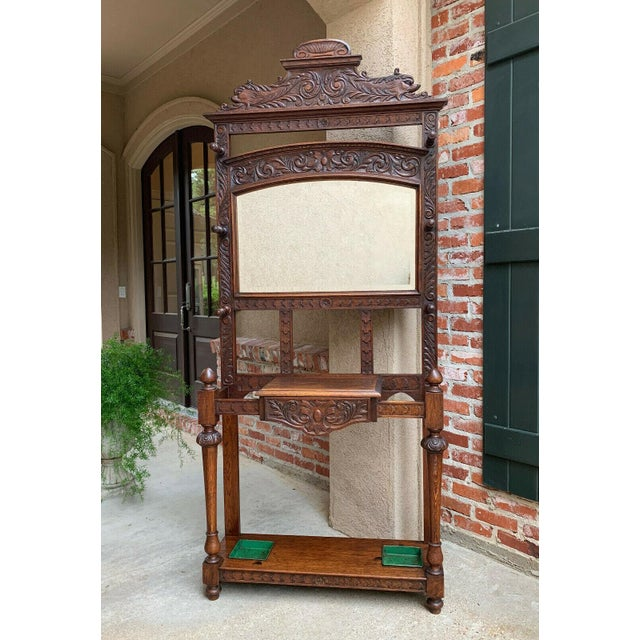 Antique English Renaissance Carved Oak Hall Tree Stand Dome Mirror Coat Hat Rack For Sale - Image 13 of 13