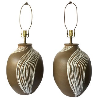 Mid-Century Modern Lava Glazed Abstract Ceramic Table Lamps, Pair For Sale