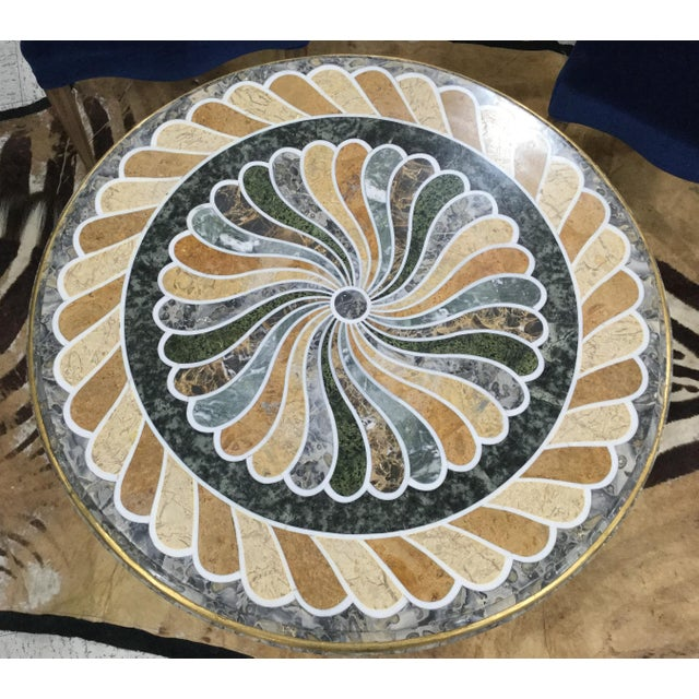 Metal 1980s Vintage Pietra Dura Dolphin Base Marble Table For Sale - Image 7 of 11