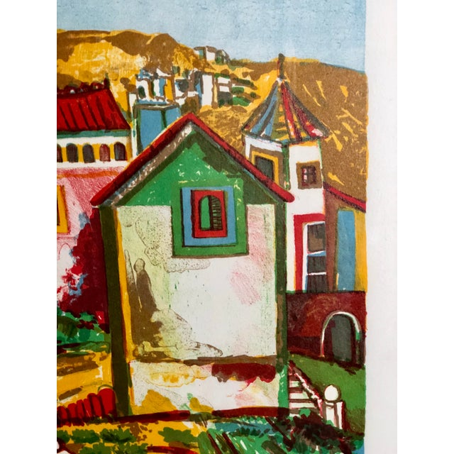 Red Vibrant Impressionist Retro Framed Print of a Colonial Town For Sale - Image 8 of 11