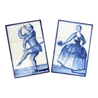 Flow Blue and White Antique Tile Wall Hangings Court Jester - a Pair For Sale