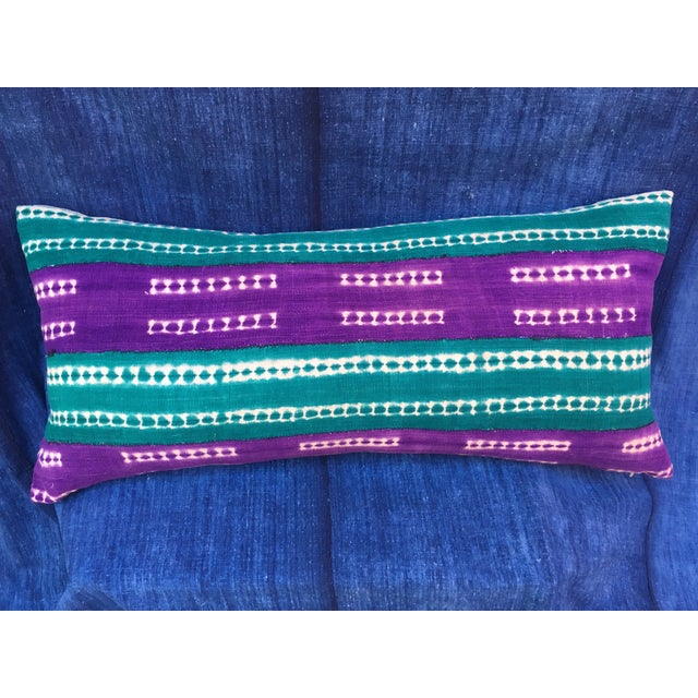 Purle and Teal African Mud Cloth Pillow - Image 2 of 8