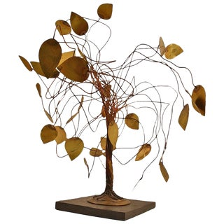 Whimsical Metal Tree Sculpture in the Brutalist School For Sale