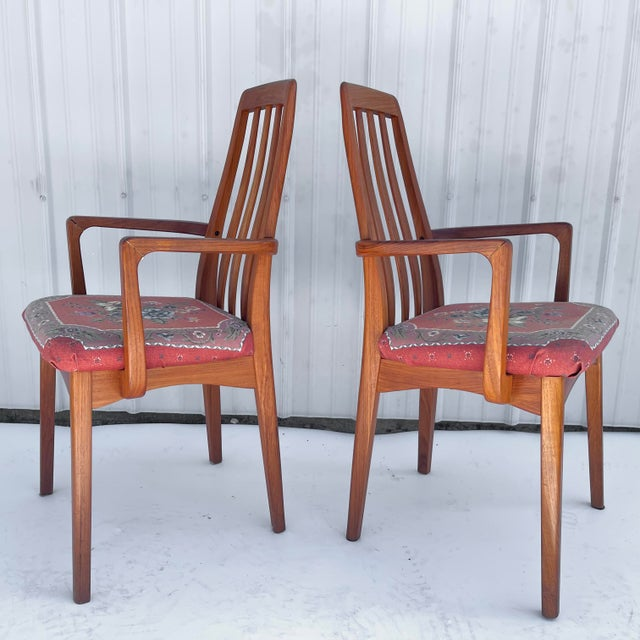 Pair of vintage modern dining chairs feature timeless Scandinavian style design and comfortable proportions. Matching...