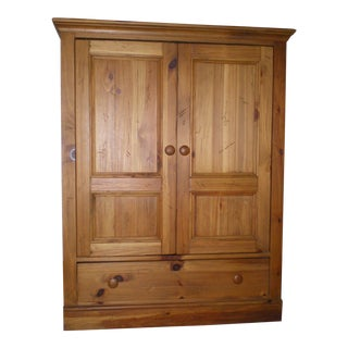 Ethan Allen Farmhouse Wood Entertainment Center Cabinet For Sale