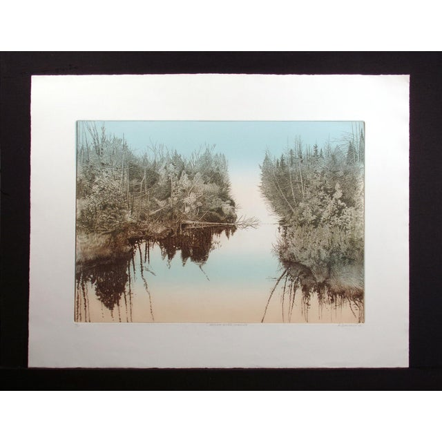 "Realism Antonin Dimitrov ""Summer River, Morning"" Realism Hand Signed Unframed Etching, 1986 For Sale - Image 3 of 6"